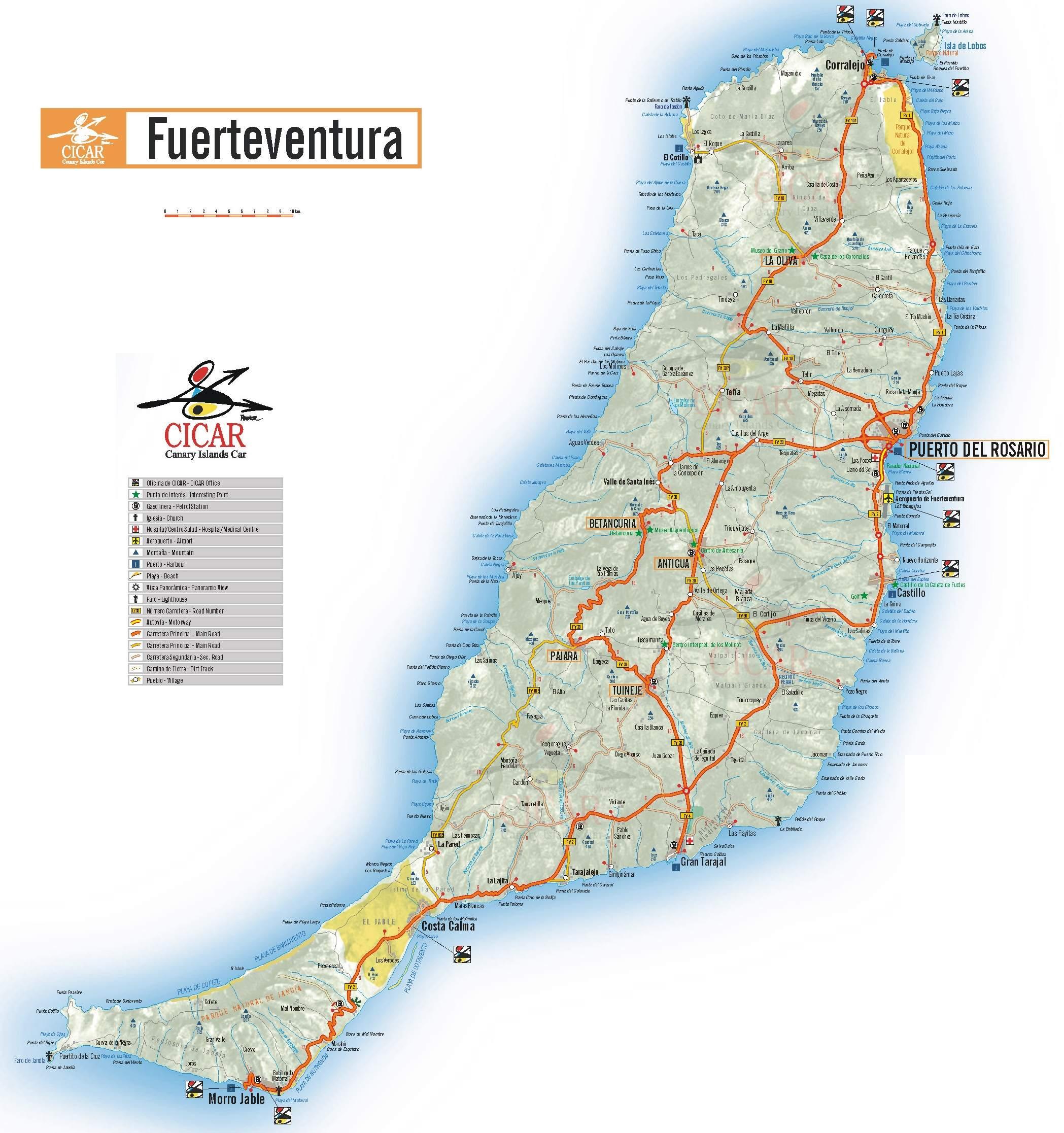 karte fuerteventura Karte Fuerteventura   grosse Fuerteventura Karte karte fuerteventura