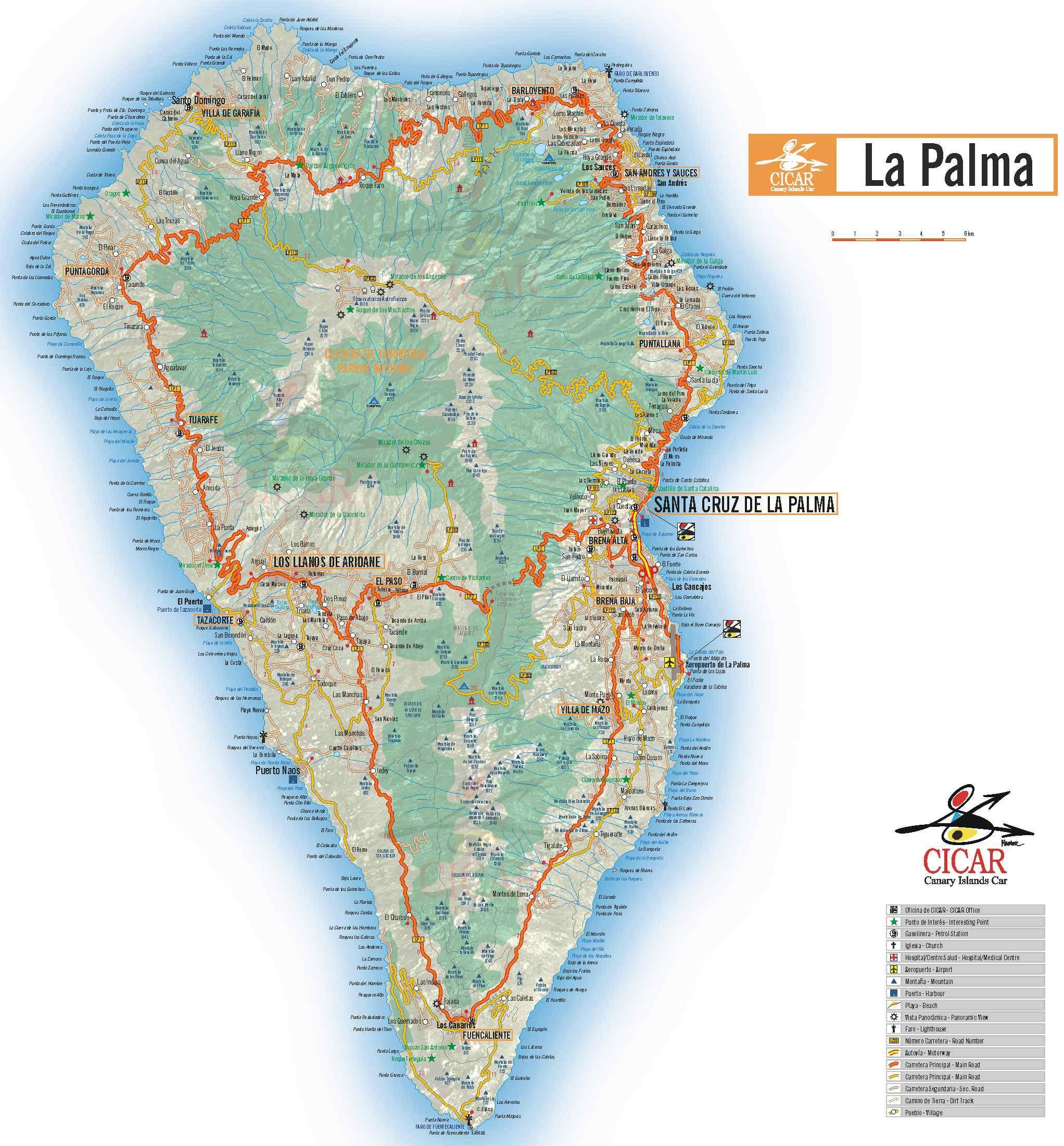 karte la palma La Palma Karte   grosse Karte La Palma karte la palma