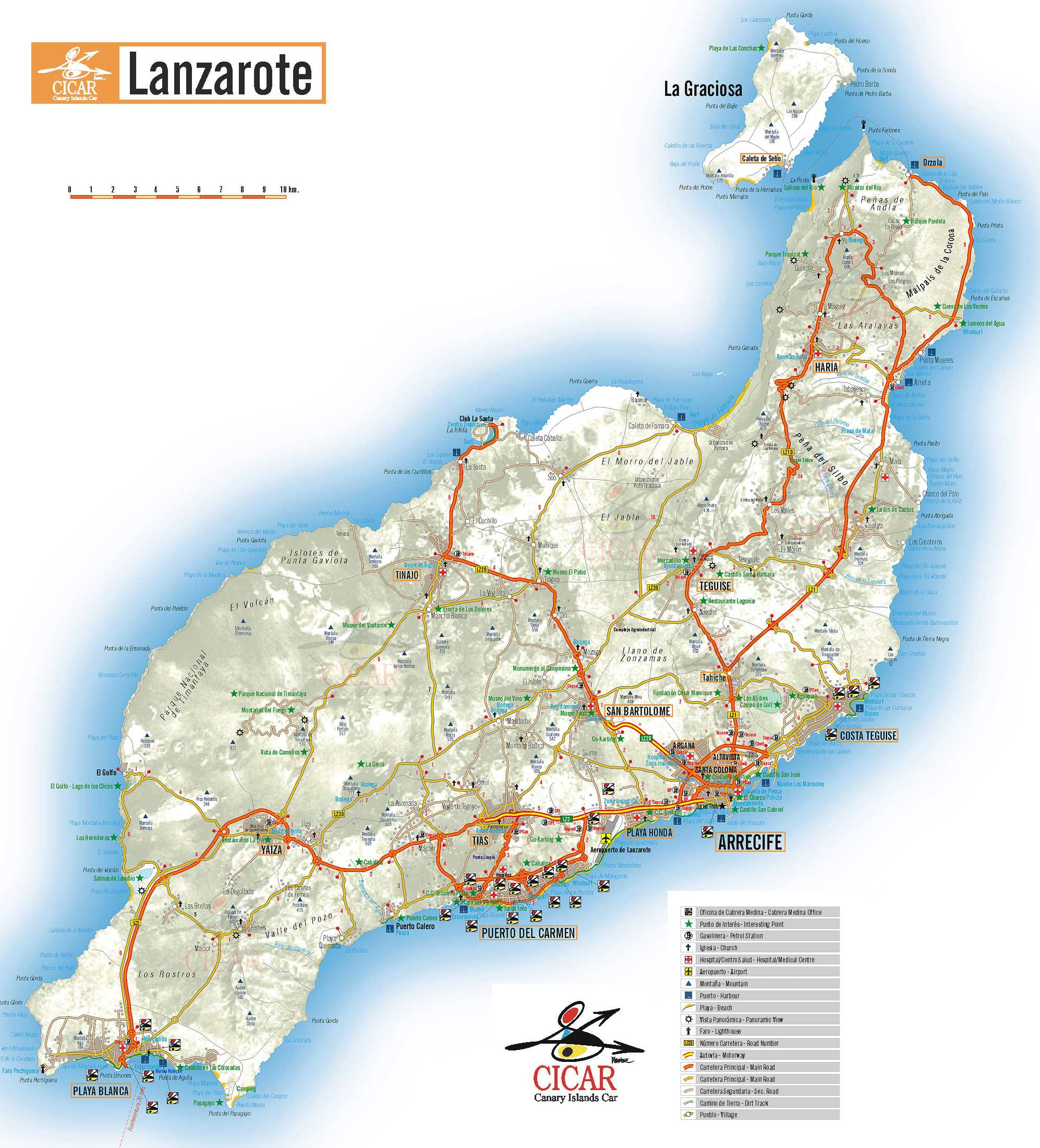 karte lanzarote Karte Lanzarote   grosse Lanzarote Karte karte lanzarote