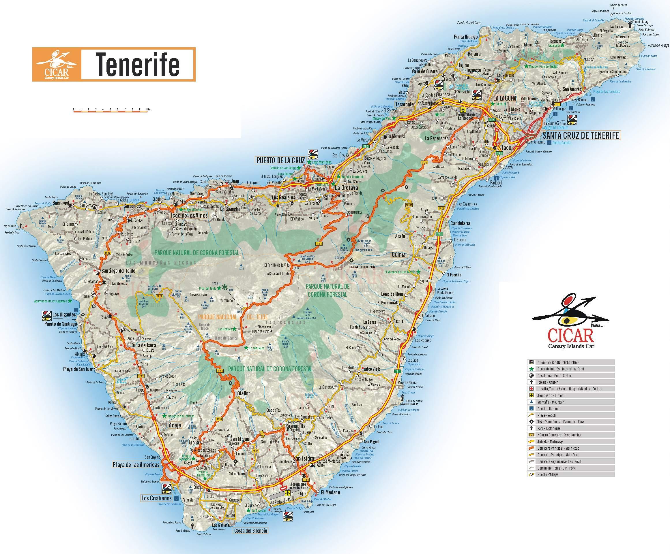 Karte Teneriffa Grosse Detaillierte Teneriffa Karte